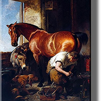 Blacksmith Shoeing Horse, Horseshoer Picture on Stretched Canvas, Wall Art Decor, Ready to Hang!