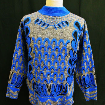 Vintage 1980s 1988 Psychedelic Pattern Grunge Acrylic Jumper Sweater XL
