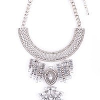 Bold Statement Necklace In Silver - Happiness Boutique