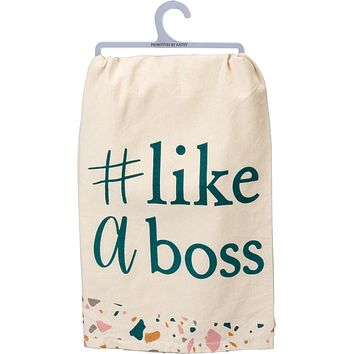#Like A Boss Dish Towel in Natural and Pastels