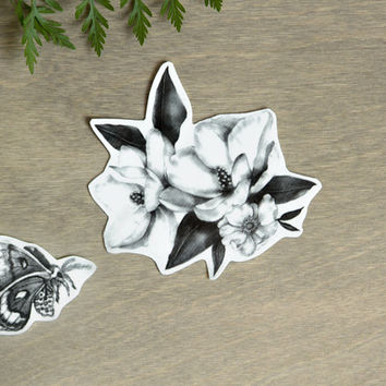 Temporary Tattoos Magnolia and Moth (Includes 2 Tattoos)