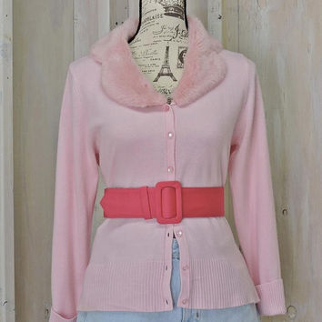 Vintage pink sweater / 80s faux fur pink cardigan / removable collar / Grease / Pink Ladies / Pastel pink / Bubble Gum / Size S / M