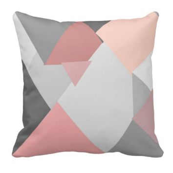 Coral and Gray Geometric Throw Pillow