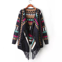 Women Loose Geometric Knitted Tassel Cardigan Sweater