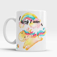 Unicorn Mug, Unique and Funny Unicorn Mug, Cute Unicorn Watercolor Mug, Cute Unicorn, Watercolor Mug with saying, I wish I was a Unicorn