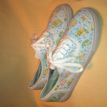 Hand Painted Lilly Pulitzer Inspired You Gotta Regatta Print Shoes