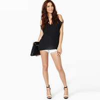 Black V-Neck Cutout-Shoulder Shirt