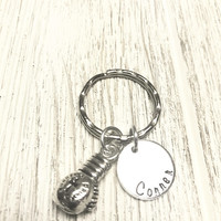 Personalized boxing glove Gift for men Keychain boxer Keyring Boxing Hand Stamped jewelry