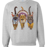 CAT SWEATSHIRT INDIANS unisex pullover crew neck  by skipnwhistle
