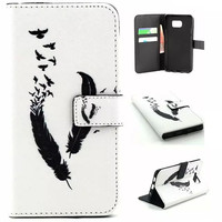 Retro Feather Leather Wallet Flip Cover Case For Samsung Galaxy S5 S6 Edge Plus Note 5 G361F G531F Phone Shell Cases