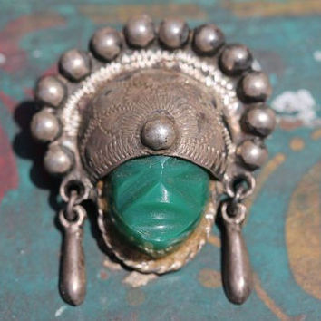 Vintage Mexican Solid Sterling Silver & Green Obsidian Glass Masquette Mask in Headdress Pin Brooch