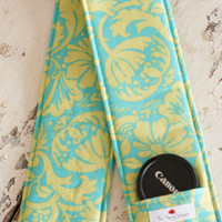Camera Strap Cover with Lens Cap Pocket- Teal Lace