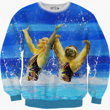 Limited Edition - Synchronized Sloth, Swimming, Sweatshirt, Fleece, Sweater, Warm Long Sleeve