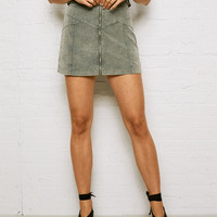 Don't Ask Why Cord Zip Front Skirt, Pine