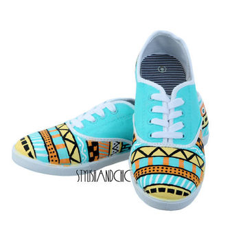 Tribal Print Shoes  Hand Painted by StylishAndChic on Etsy