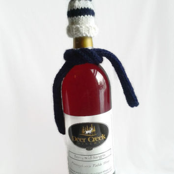 Wine Bottle Cozy, Wine Bottle Topper, Knit Hat & Scarf, Sparkly, Shimmer , Hand Knit, Kitchen Accessories, White Hat, Navy Blue, Blue