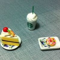 Dessert Set Miniature Clay Polymer Fruit Orange Cake Slice Food Supply Pink Donut Tiny Small Dish Plate Ceramic Dollhouse Iced Coffee Cup