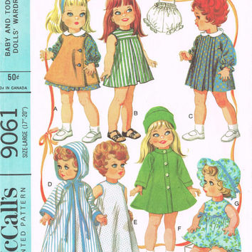 McCall's 9061 Sewing Pattern Retro 60s Baby Toddler Doll Wardrobe Clothes Betsy Wetsy Dress Robe Bonnet Coat Uncut 14 to 18 Inch Dollies
