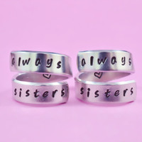 always sisters - Spiral Rings Set, Hand Stamped, Handwritten Font, Shiny Aluminum, Friendship, BFF