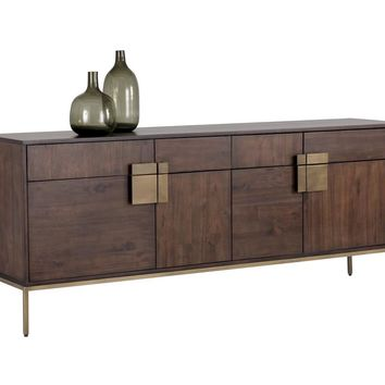 JANE ACACIA WOOD VENEER WITH ANTIQUE BRASS BASE SIDEBOARD