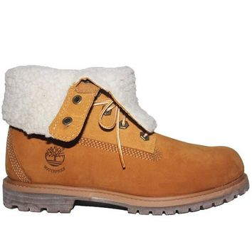 Timberland Earthkeepers Teddy Fleece - Waterproof Wheat Leather Fold-Over Lace-Up Flee