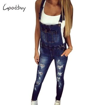 DCCKLW8 Goodbuy 2017 Summer Womens Denim Jumpsuits Overalls Sexy Jeans Office Casual Hole Pocket Spring Pencil Pants Femme Real Photo