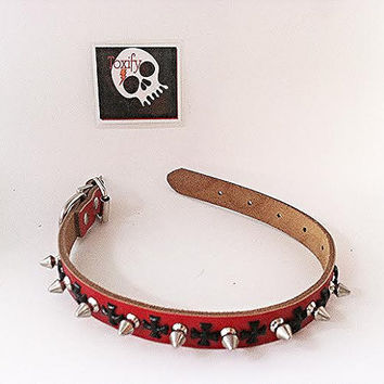 Spiked Red Genuine Leather Dog Collar with Black Cross Detail - Medium Studded
