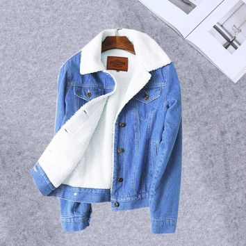 Warm Winter denim jacket for women 2018 New Fashion Winter Wool lining Jeans Coat Women Bomber Jackets Female casaco feminino