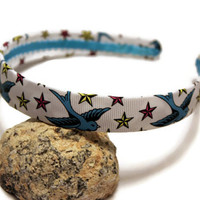 Bird Headband - Sparrow, Tattoo Inspired, Nautical Stars, Alternative Fashion, Rockabilly - Womens, Teen - Ribbon Covered - White, Blue