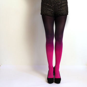 Ready to Ship Ombre tights Fuschia Magenta and Black hand by xsilk