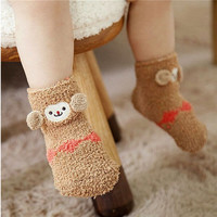 1T-3T New Brand 2016 Cartoon Kids Anti Slip Socks Baby Girl/Boy Winter Coral fleece Baby Socks Christmas Gift 13 Styles For Kids