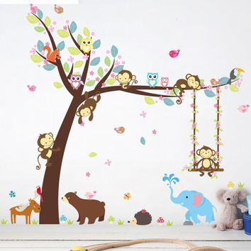 Forest Happy Animals Bear Owl Cheeky Monkey Swing Tree DIY Wall Sticker For Kids Room Baby Nursery Carton Decor Home Decal Mural
