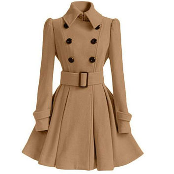 2016 Fashion High Quality Europe Winter Autumn Woolen Coat Belt Buckle Trench Coat Double Breasted Coat Long Sleeve Casual Dress