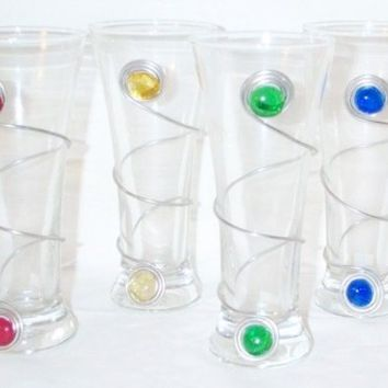 FUN and FUNctinal Set of 4 Glass Pilsner Glasses Wrapped with Wire and Glass Beads, free bottle opener