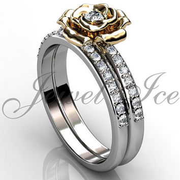 Engagement Ring Set - 14k White and Yellow Gold Diamond Unique Flower Wedding Band Engagement Ring Set Bridal Set ER-1123-4