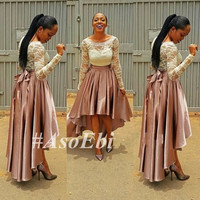High Low Lace Prom Dresses With Long Sleeves Ghanaian Style