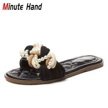 Minute Hand 2018 New Fashion Cute Summer Woman's Slippers Slides Flats String Bead Pearls Beach Shoes For Ladies Big Size 33-43