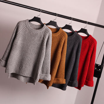 Women's Fashion Jacket Winter Pullover Knit Sweater Tops Shirt [9022380420]