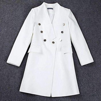 Lxunyi Runway Blazers Women Long V Neck Slim Suit Jacket Coat Double Breasted Blazer Feminine White