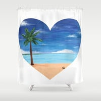 Palm Tree on the Beach Shower Curtain by Sierra Christy Art