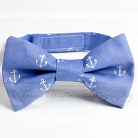 Boy's Bow Tie, Newborn, Baby, Child- Blue, White, Nautical, Toma's Tutus and Things