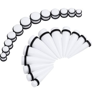 BodyJ4You Gauges Kit 12 Pairs White Acrylic Tapers & Plugs 00G 12mm 14mm 16mm 18mm 20mm 24 Pieces