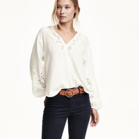H&M Embroidered Cotton Blouse $39.99