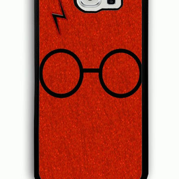 Samsung Galaxy S6 Case - Rubber (TPU) Cover with Harry Potter Glasses and Lightning Bolt Rubber case Design