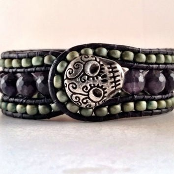 Beaded Leather Cuff, Handmade, Jewelry, Bracelet, Smokey Quartz Gemstone Cuff, Sugar Skull artisan button