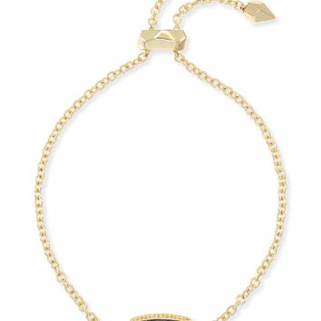 Kendra Scott: Elaina Gold Adjustable Chain Bracelet In Gunmetal Filigree