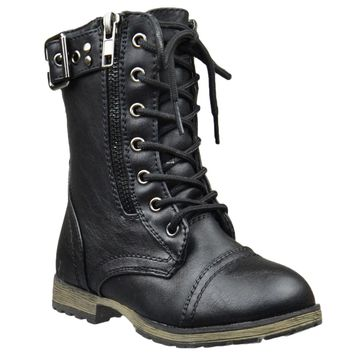 Kids Mid Calf Boots Buckle Accent Lace Up Combat Boots Black