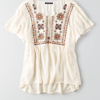 AEO Embroidered Swing Shirt, Cream