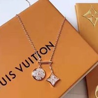 Free shipping-LV double pendant micro-inlaid zircon sleek minimalist necklace