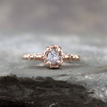 Raw Diamond Engagement Ring -14K Rose Gold Filigree Ring - Antique Styled Engagement Ring - April Birthstone - Rough Conflict Free Diamond